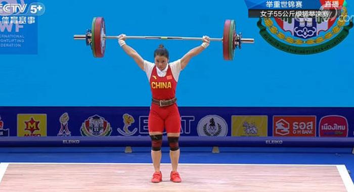 祝賀!潮州選手張宛瓊在2019年世錦賽中獲得女子55公斤級抓舉金牌